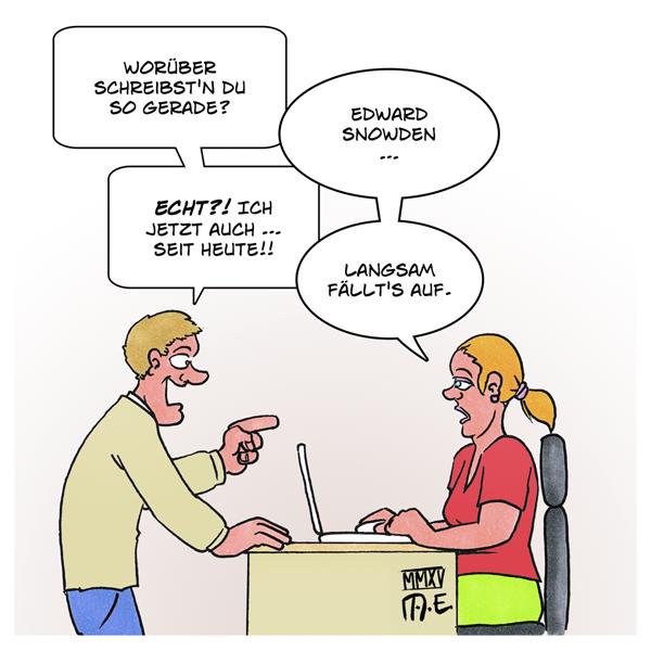 #tazgate: Spionage im Medienhaus | Karikatur von Timo Essner