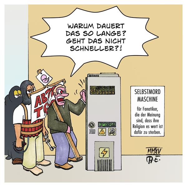Selbstmord-Maschine für Fanatiker | Karikatur