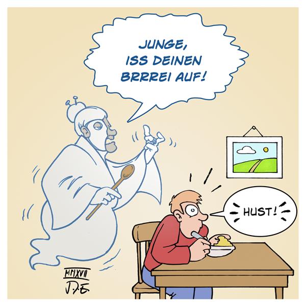 Das Phantom der Oper Karikatur Cartoon Geist Oma Wortspiel Persiflage