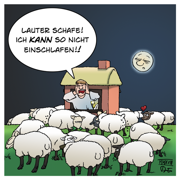 Schaf Schafherde einschlafen Schlaf Deich Haus Nacht Schafe zählen