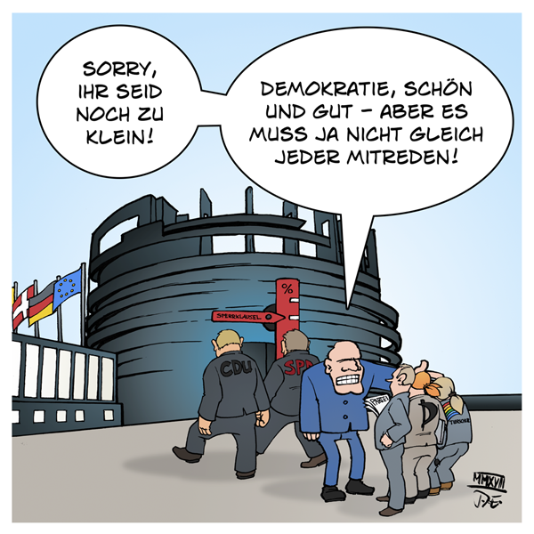 Sperrklausel Europa EP Europäisches Parlament Volksparteien Kleinstparteien Demokratie Prozenthürde Zugangsbeschränkung Wahlen Europawahlen