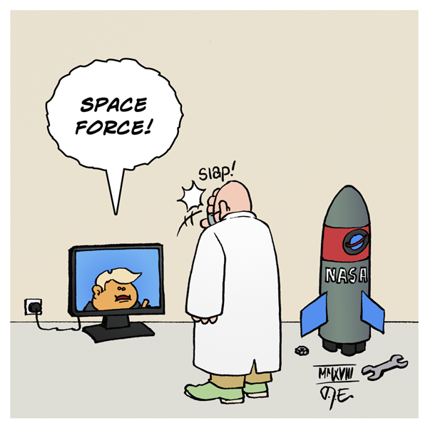 Donald Trump NASA Space Force Space Warts Space Lord Mueller investigation Ablenkung Science Wissenschaft Wissenschaftler Fake News Bullshit