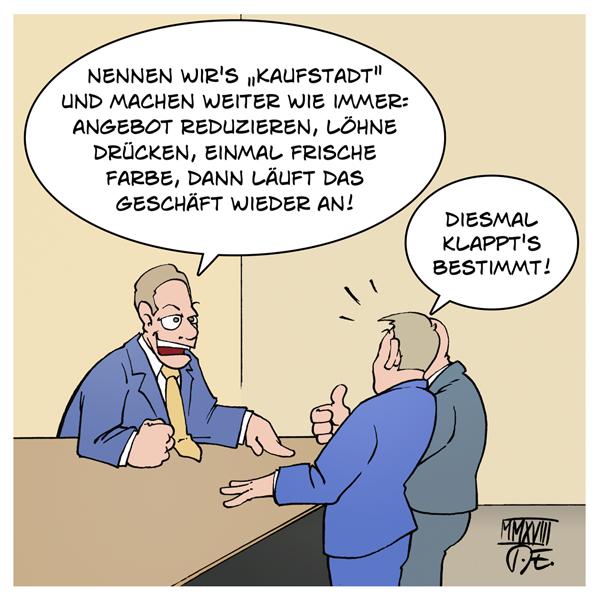 Karstadt Kaufhof Kaufstadt Übernahme Fusion Kauf Arbeitsplätze Angestellte Mehrarbeit real Mindestlohn Lohndrückerei Wirtschaft Arbeitsmarkt Deutschland