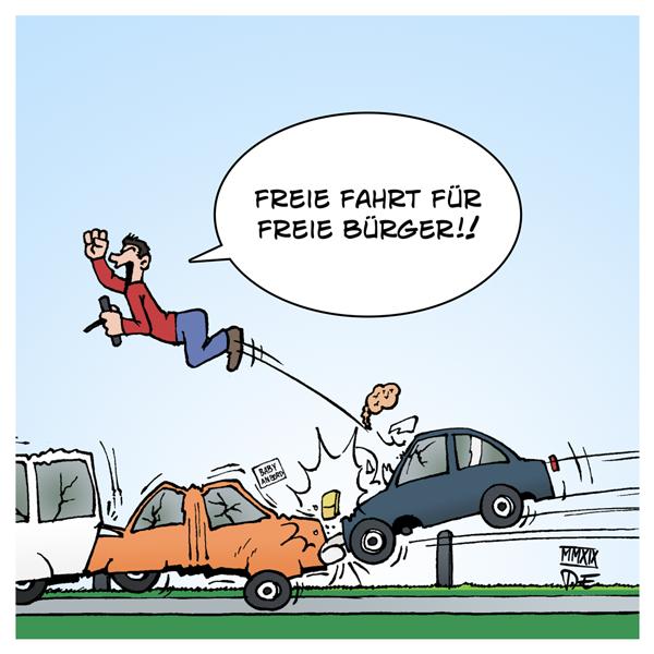 Tempolimit Höchstgeschwindigkeit Raser Verkehrstote Autobahnen freie Fahrt freie Bürger Stau Stauende Bremswege Verkehrssicherheit Verkehr Deutschland Vernunft