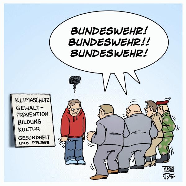 Bundeswehr NATO 2-Prozent-Ziel Rüstung Krieg Umwelt Bildung Klimaschutz Gesundheit Pflege Gewaltprävention Zivilgesellschaft Kultur