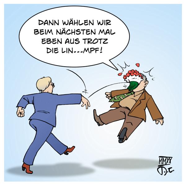 Thüringen Gauland Blumenstrauß Susanne Hennig-Wellsow AfD AFDP Linken Wahl Landtagswahl Coup Kemmerich Blumen