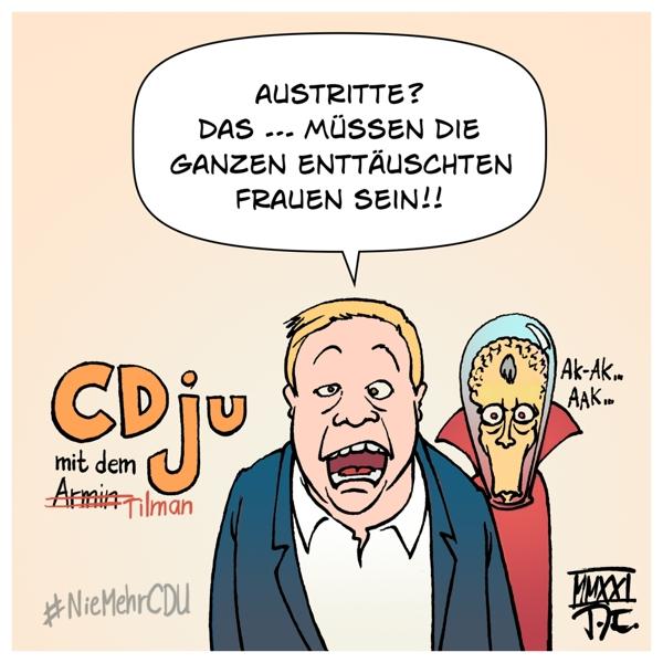 CDU Parteitag Bundesparteitag Vorsitzender Parteivorsitzender Kanzlerkandidat#CDUPT21 Friedrich Merz Junge Union Tilman Kuban JU Austritte #NiemehrCDU Frauen