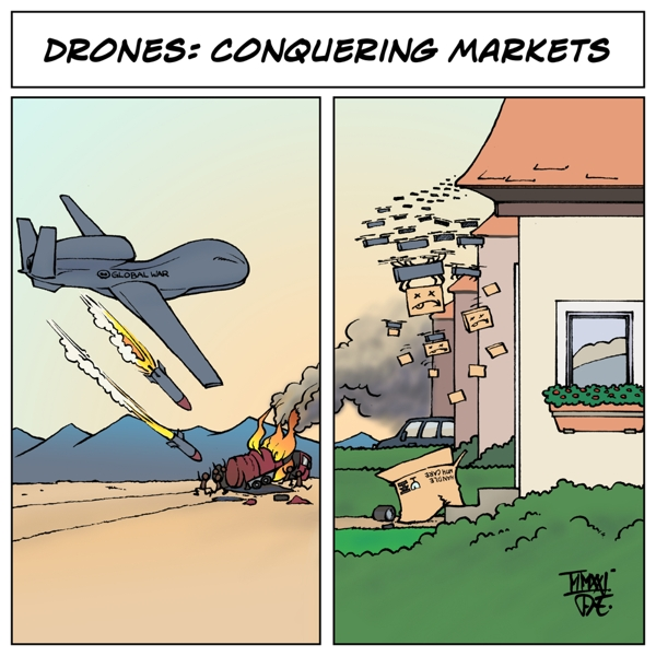 Drones Drohnen Kampfdrohnen Global Hawk US Airstrikes Bundeswehr Afghanistan  Espionage Spionage UAV unmanned war Amazon service drones capitalism Kapitalismus MIlitarismus Technologie